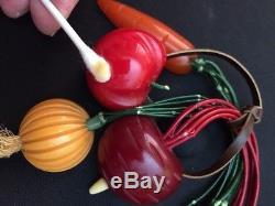 RARE vintage BAKELITE pin vegetable radish onion carrot tomato all ORIGINAL