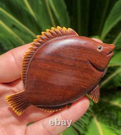 Rare 1930's Vtg Large Butterscotch Bakelite & Rose Wood Carved Fish Pin Brooch