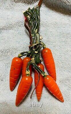 Rare Antique Bakelite Bunch of Carrots Pin