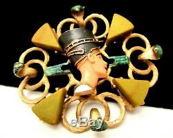 Rare Hobe Vintage 2-1/2 Goldtone Egyptian Revival Enamel Bakelite Brooch Pin 36