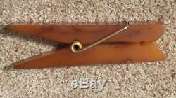 Rare Large Vintage 1930's Amber BAKELITE Paperweight CLOTHES PIN