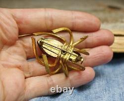 Rare Large Vintage Brass Amber Bakelite Spider Brooch Pin
