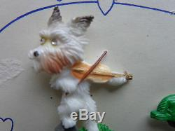 Rare Pair Of Vintage Scotty Dog Articulated Dimensional Plastic Pins