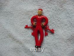 Rare! Vintage 1940's Bakelite 2-3/4 Bellhop Bell Hop Pin With Dangling Keys