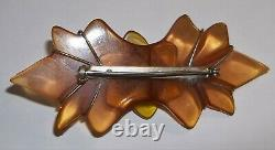 Rare Vintage 30's Carved Bakelite Apple Juice Floral Brooch Pin 3.5 Euc