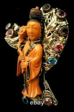 Rare Vintage 3 Early Hobe' Sterling Silver Bakelite Geisha Brooch Pin Book Pc