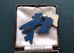 Rare Vintage Art Deco Articulated Bakelite Style Early Plastic Dog Brooch Pin