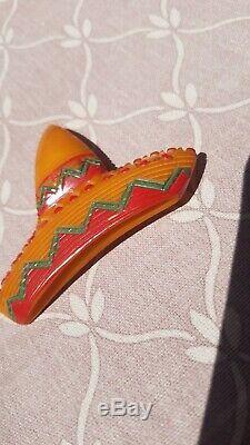 Rare Vintage BAKELITE Mexican Sombrero Pin RED, GREEN & ORANGE