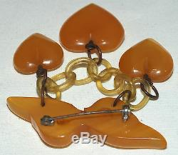 Rare Vintage Bakelite Butterscotch Hearts Charms Pin/Brooch