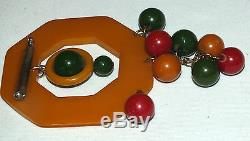 Rare Vintage Bakelite Butterscotch Round Charms Huge Pin/Brooch