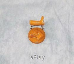 Rare Vintage Bakelite Carved Equestrian Horse Head & Riding Boot Pin