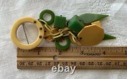 Rare Vintage Bakelite Dangling Abstract Circles Pin Brooch 4.5L 21 Grams 4
