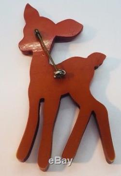 Rare Vintage Bakelite Figural Bambi Deer Hand Painted Pin