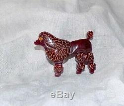 Rare Vintage Bakelite Maroon Poodle Dog Pin