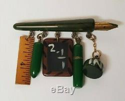 Rare Vintage Bakelite Martha Sleeper School Days Brooch Pin Antique Jewelry