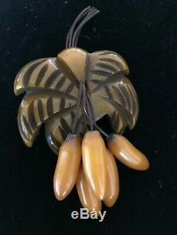 Rare Vintage Bakelite Palm Tree And Bananas Pin Brooch