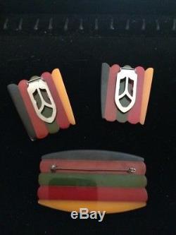 Rare Vintage Bakelite Philadelphia Pin And Clip Set. Excellent