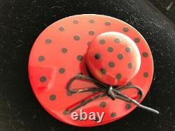 Rare Vintage Bakelite Pin Large Red Hat With Black Dots