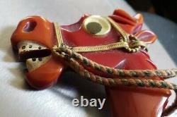 Rare Vintage Bakelite Plastic Googly Eyes Eyed Horse Head Pin Brooch 3 1/2 X 3