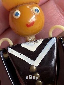 Rare Vintage Bakelite Sailor Pin Hand Painted Large Dangling