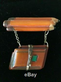 Rare Vintage Bakelite School Books And Pencils Pin Brooch