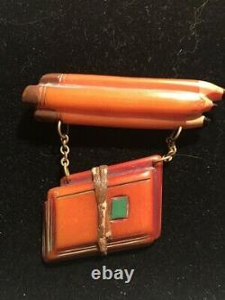 Rare Vintage Bakelite School Books And Pencils Pin Brooch