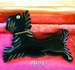 Rare Vintage Black Carved Bakelite Pin Scottie Dog