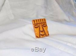 Rare Vintage Carved Bakelite Mexican Mayan Aztec Face Pin