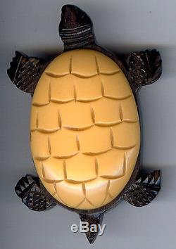 Rare Vintage Carved Yellow Bakelite Wood Turtle Pin & Turtle Clamp Bracelet