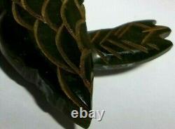 Rare Vintage Early 1900s Bakelite Deep Carved Folk Art Black Bird Brooch Pin