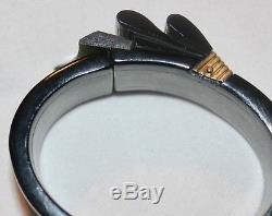 Rare Vintage Green Black BAKELITE Hinged Bracelet & Brooch Pin EUC