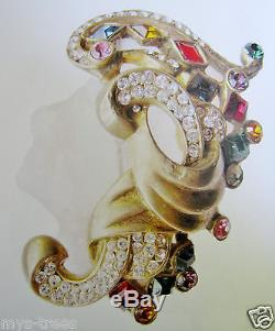 Rare Vintage Lucite Sterling Jelly Belly Face Figural Pin Brooch Jewels Masterpc