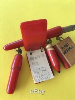 Rare Vintage Red Bakelite Sleeper School Charm Pin