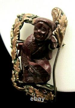 Rare Vintage Signed Hobe' Sterling 1/20th 14kt Gold Bandora Asian Man Brooch Pin
