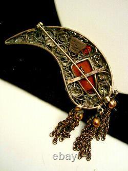 Rare Vintage Signed Hobe' Sterling 1/20th 14kt Gold Bandora Face Mask Brooch Pin
