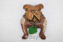 Rare Vintage Wood Bulldog Brooch With Brass Collar Bakelite Lock Tag MISSING PIN