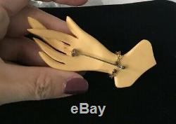 Rare Vtg Bakelite Pin Ladys Hand Fingers Crossed
