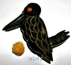 Rare Vtg Early 1900s Bakelite Deep Carved Folk Art Kingfisher Bird Brooch Pin