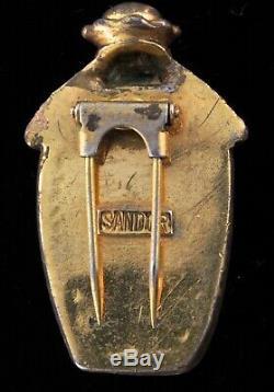 Rare Vtg SANDOR Carved Bakelite BALINESE Blackamoor Figural Face Pin Fur Clip