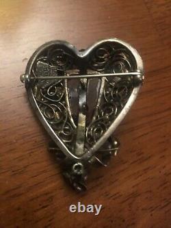 Rare Vtg Signed Hobe' Sterling 1/20th 14kt Gold Asian Bandora Face Brooch Pin M9