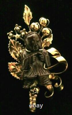Rare Vtg Signed Hobe' Sterling 1/20th 14kt Gold Bandora Asian Man Brooch Pin M9