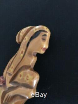 Rare vintage BAKELITE PIN polynesian hawaiian sitting woman MARTHA SLEEPER