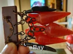 Rare vintage bakelite carrot pin brooch