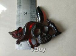 Rare vintage bakelite cat skull pin for Halloween