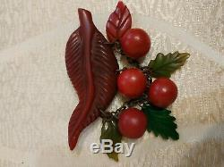 Rare vintage bakelite cherry pin brooch