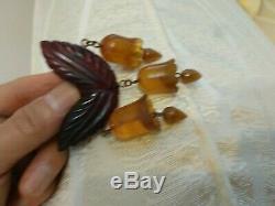 Rare vintage bakelite pin brooch dangle bells