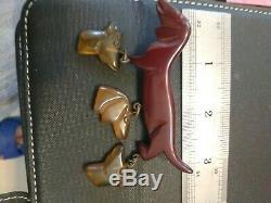 Rare vintage bakelite pin brooch dangle dog