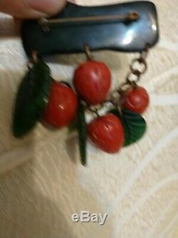Rare vintage bakelite strawberry pin brooch