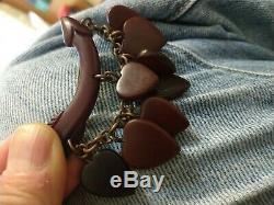 Rare vintage cherry amber bakelite heart pin brooch