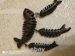 Rare vintage cherry amber bakelite pin brooch dangle fish bone
